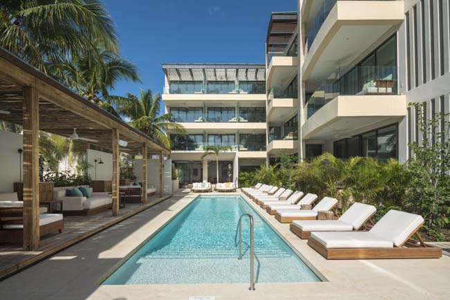 The pool at the newBeach House at Thompson Playa del Carmen.