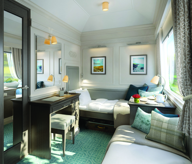 A rendering of one of the cabins on the new Belmond Grand Hibernian sleeper train debuting this August in Ireland.