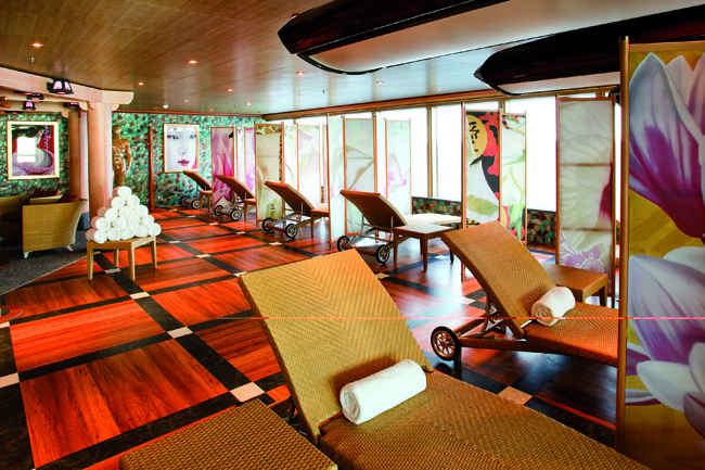 The solarium on board the Costa Deliziosa.
