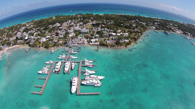 An aerial view of the Valentine's Resort and Marina hotel in Eleuthera.