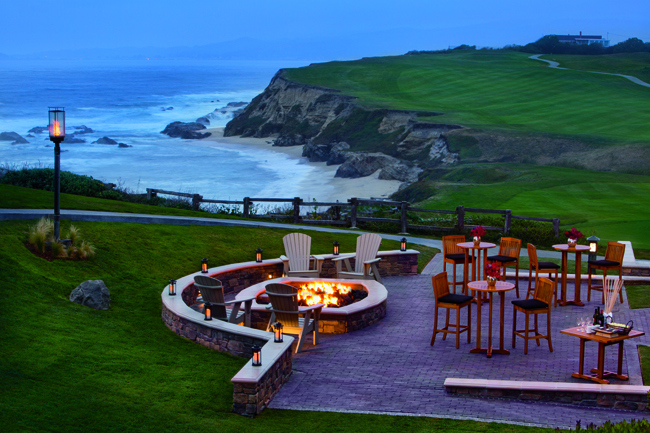 The fire pit on the ocean terrace at the Ritz-Carlton, Half Moon Bay in San Francisco.