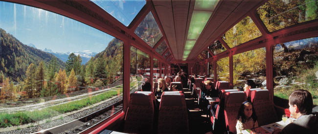 Guests enjoy panoramic views on the Glacier Express.