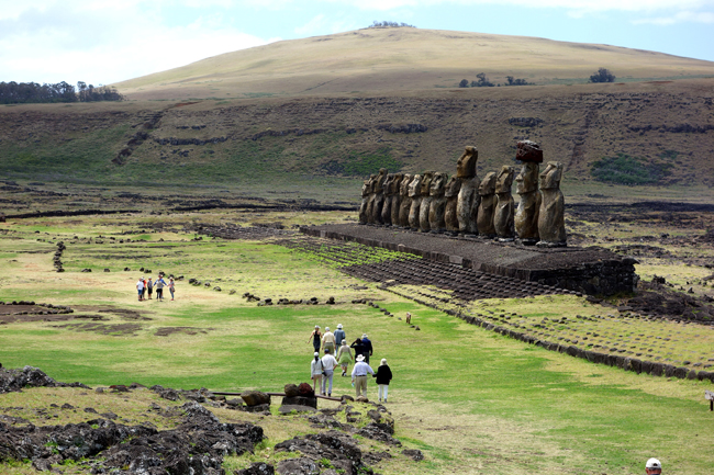 Guests viewing Moai on Easter Island. (Photo credit: Abercrombie & Kent).