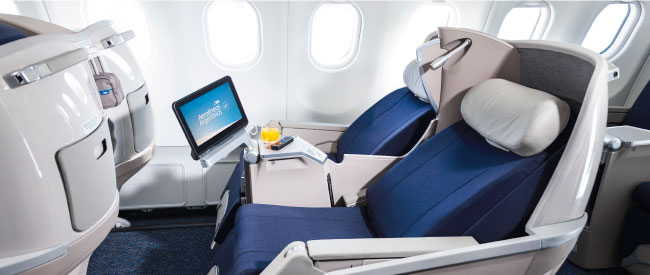 Business Class seats aboard the Airbus A330.