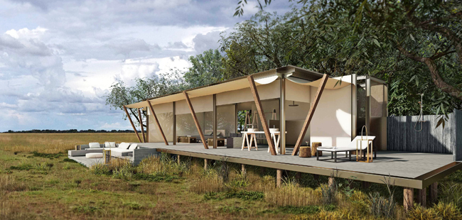 A rendering of the Mambeti Camp in Zambia's Liuwa Plain National Park.