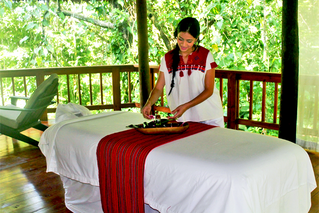 The Lodge at Pico Bonito in Honduras features a new outdoor spa offering indigenous inspired spa treatments.