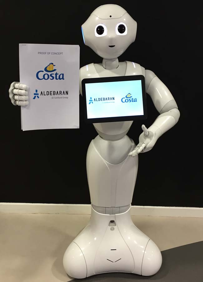 "Pepper, the world's first emotional robot, is scheduled to make ""his"" debut on board the AIDAprima and Costa Diadema ships this spring."