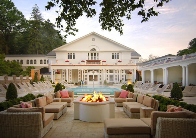 The outdoor spa garden at The Omni Homestead Resort in Virginia.