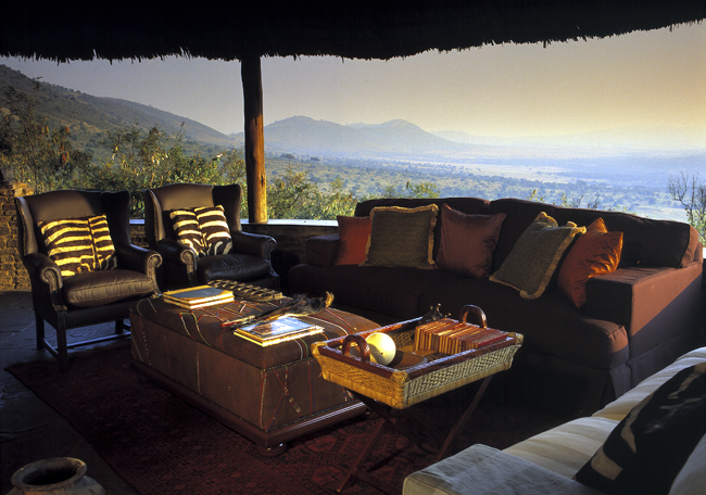 The sitting room at Kleins Camp in Tanzania.