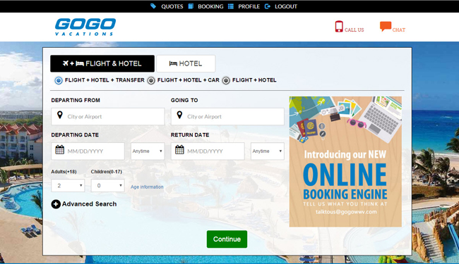 A screenshot of GOGO Vacations' new booking engine.