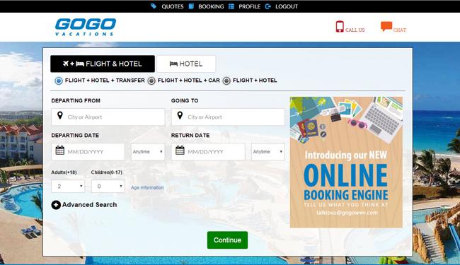 A screenshot ofGOGO Vacations' new booking engine.