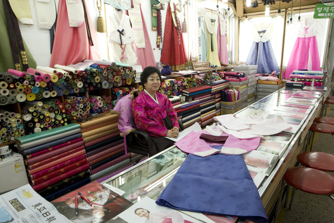A fabric shop at the Dongdaemun Market in Seoul.