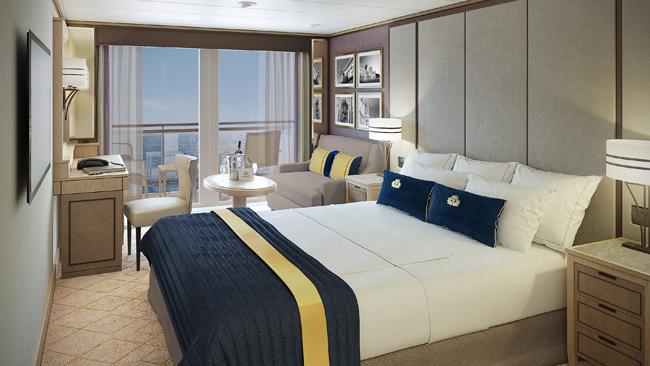 A rendering of the Britannia Club Balcony stateroom on Cunard's Queen Mary 2.