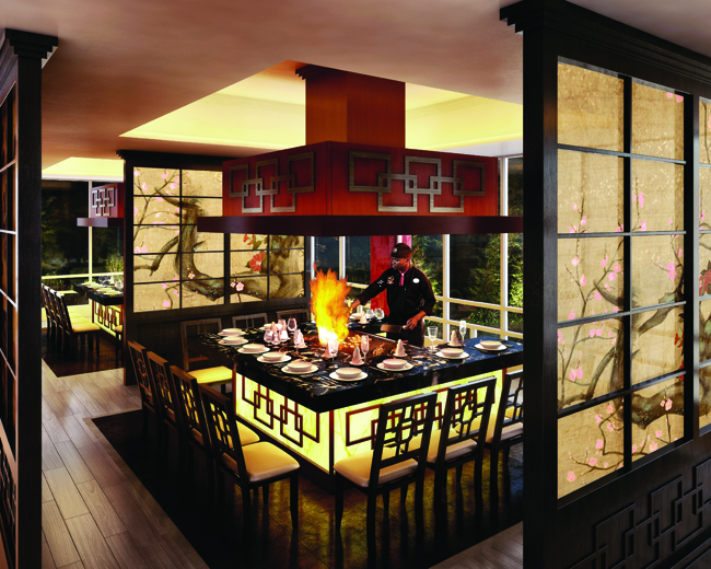 The teppanyaki-style Kimonos restaurant at Sandals.
