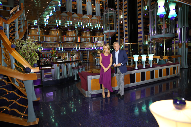 Pat Sajak and Vanna White onboard a Carnival Cruise Line ship.