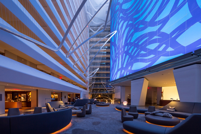 The atrium at the Conrad New York in Lower Manhattan.
