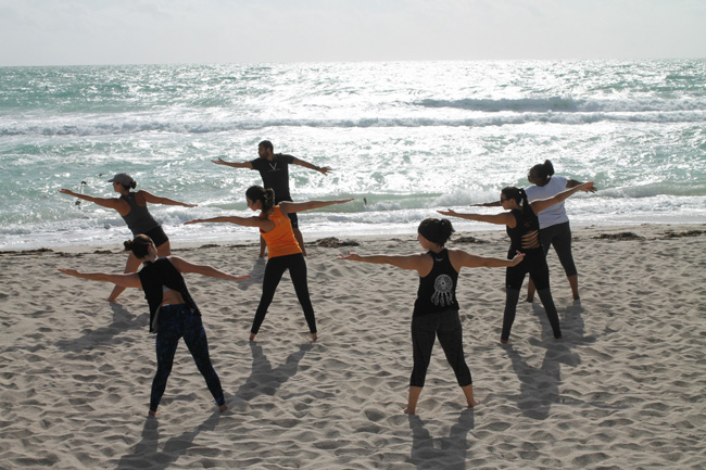 Delano South Beach's Beach Cross Bootcamp fitness classes incorporate strength conditioning, core training and yoga.