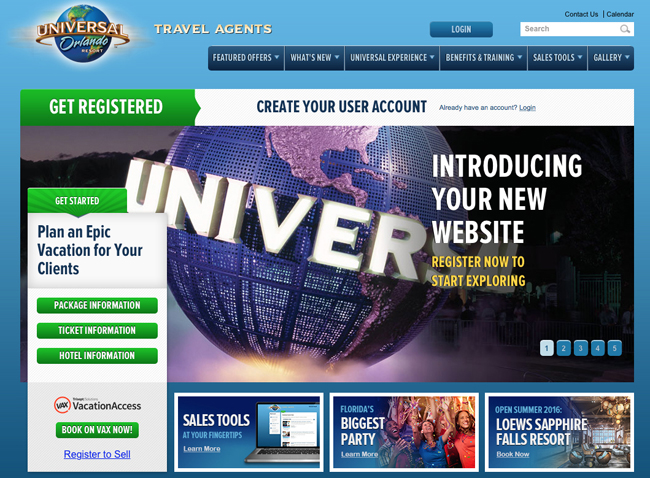 A screenshot ofUniversal Orlando's redesigned travel agent website.