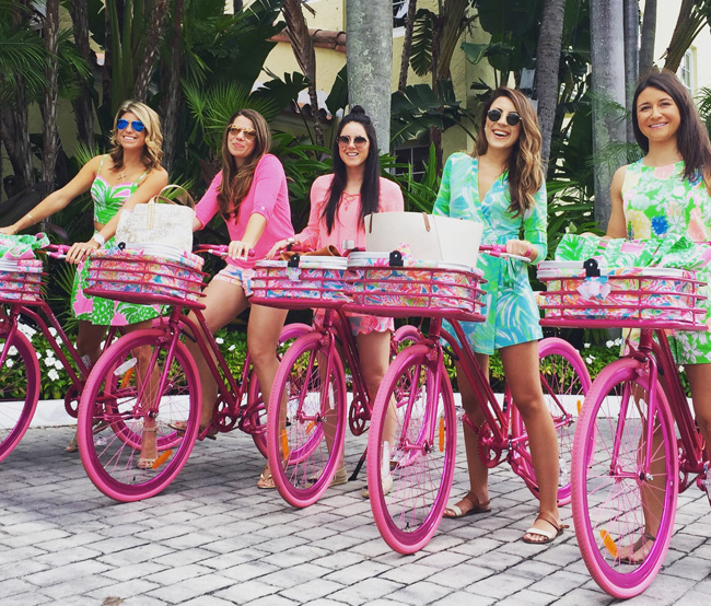 The Brazilian Court Hotel's Take a Ride with Lilly package allows guests to bike around town on Lilly Pulitzer-inspired bicycles.