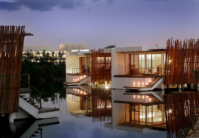 Deluxe Overwater Lagoon suites at the Rosewood Mayakoba in Riviera Maya, Mexico.