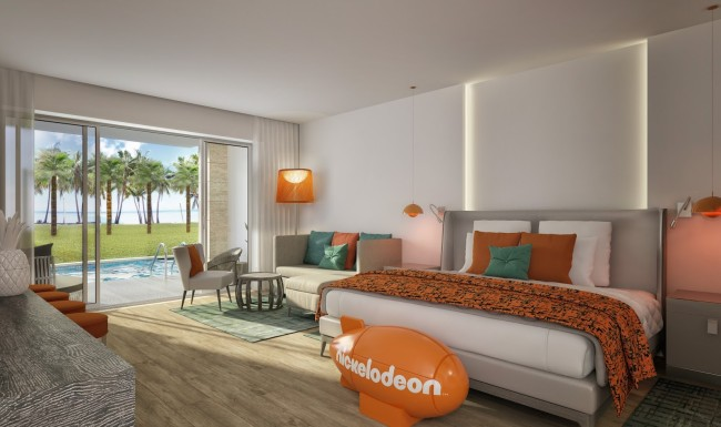 A rendering of the Jacuzzi Pad room at the new Nickelodeon Hotels & Resorts Punta Cana in the Dominican Republic opening this May.