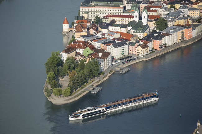 An aerial shot of the new AmaStella sailing in Passau, Germany.