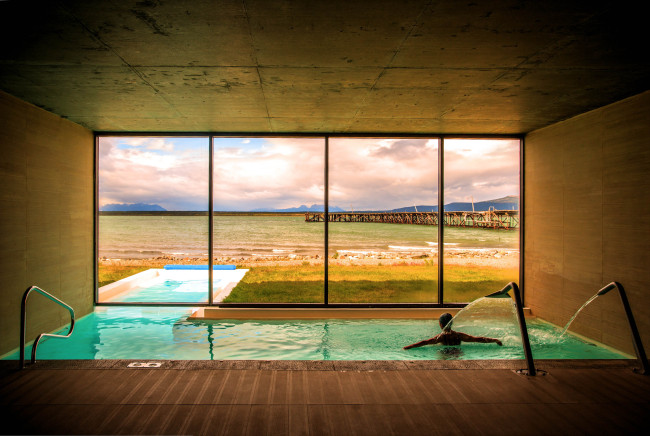 The spa pool at The Singular Patagonia in Chile.