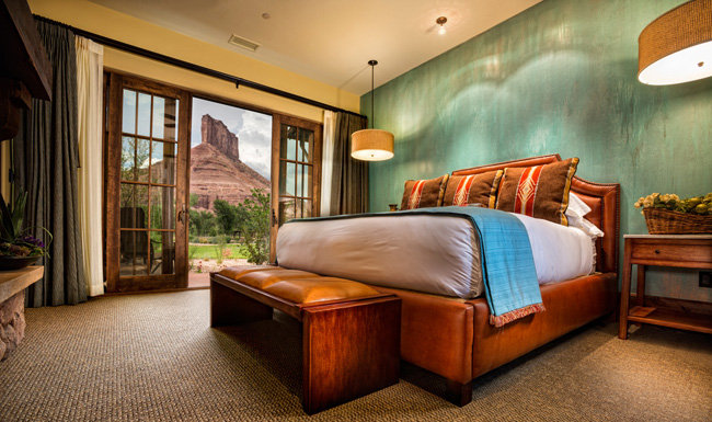 A casita bed and palisade at the Gateway Canyons Resort & Spa in Colorado.