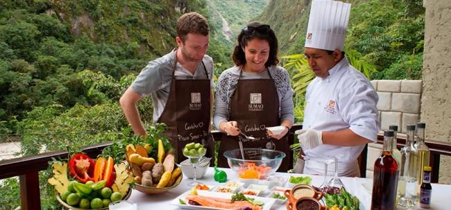 Guests participating in a Peruvian cooking class at theSumaq Machu Picchu Hotel in Peru.