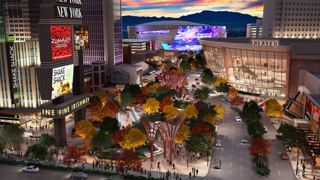 "A rendering of the new ""park,"" located on the west side of The Strip."