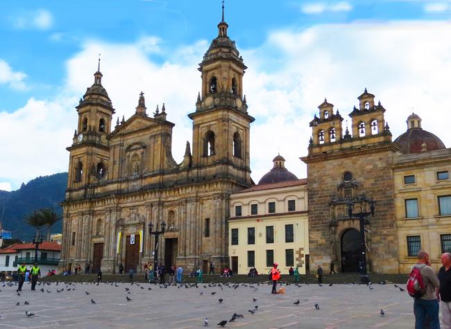 The Plaza de Bolivar in Bogota, Colombia.