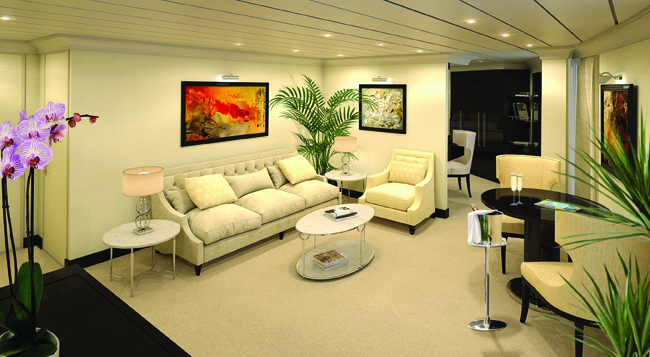 Rendering of the Vista Suite on board Oceania Cruises' Sirena.