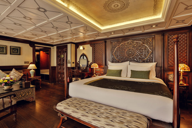 An Executive suite on Heritage Line's newest luxury paddle wheeler, the Anawrahta.