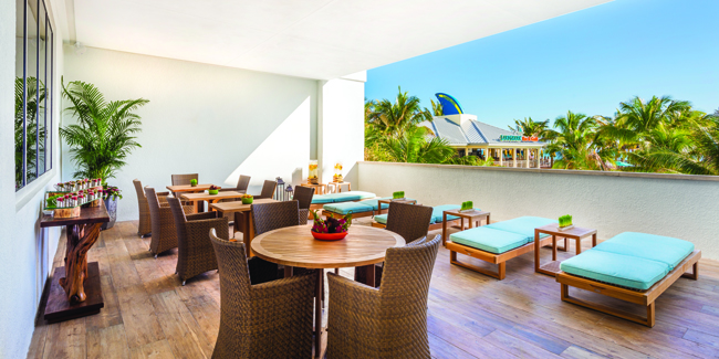 The terrace at Margaritaville Hollywood Beach Resort's St. Somewhere Spa.