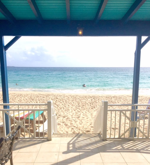 Beach views during lunch at one of the Frenchman's Reef & Morning Star Marriott Beach Resort's restaurants.