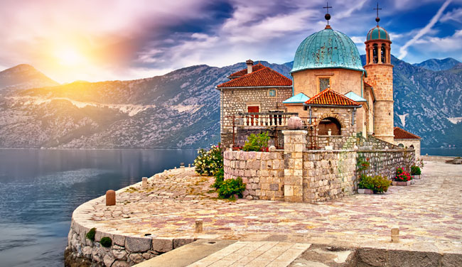 Azamara's Kotor, Montenegro Private Journeys program visit a tiny island church with hidden Baroque art.