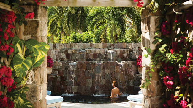 The volcanic-stone whirlpool at the Four Seasons Resort Nevis in Saint Kitts and Nevis.