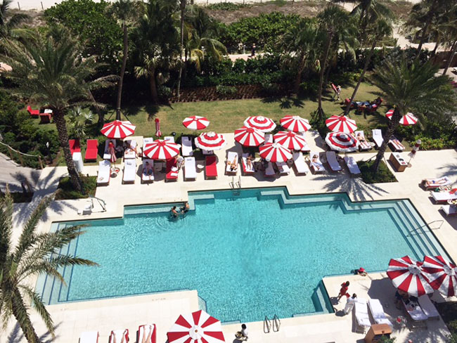 Pool views from Faena's guestroom.