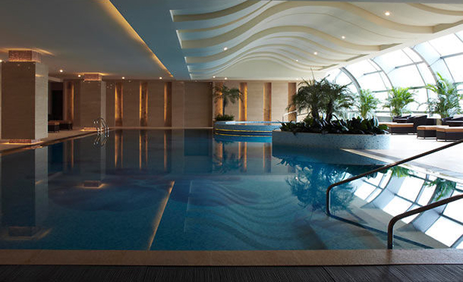 The indoor pool at the Suzhou Marriott Hotel.