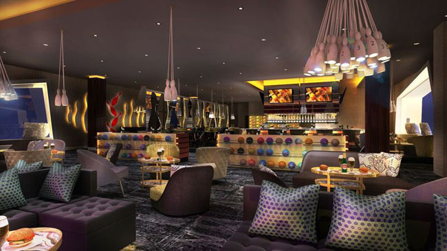 A rendering of the six-lane bowling alley at the upcoming Moon Grand at the Moon Palace Golf & Spa Resort in Cancun.