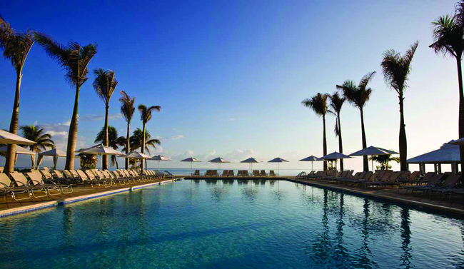 Poolside at the Hilton Rose Hall in Jamaica.