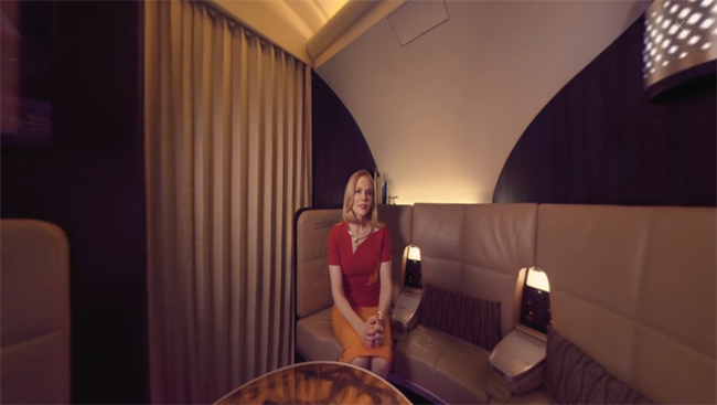 A still from Etihad Airways virtual reality film starring Nicole Kidman.