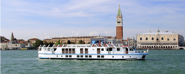 European Waterways' La Bella Vita cruising in Venice.