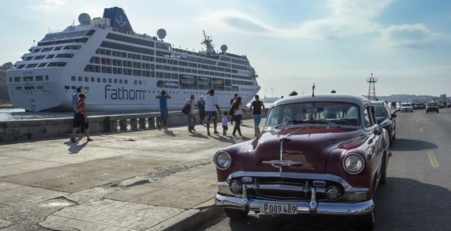 Fathom's luxury cruise ship Adonia in Cuba.