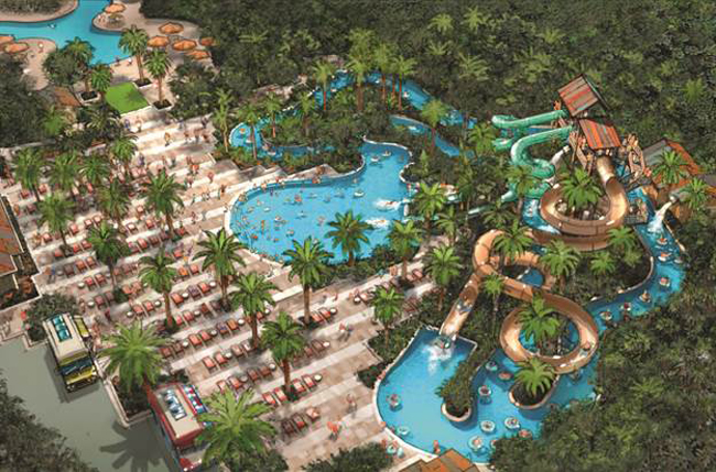 A rendering of the Hyatt Regency Coconut Point Resort's upcoming $7.1 million triple waterslide and lazy river pool complex in Bonita Springs, Florida.