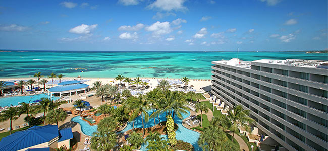 An aerial shot of of the All-inclusive Melia Nassau Beach in the Bahamas.
