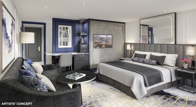 A rendering of the penthouse suite aboard the reimagined Crystal Mozart.