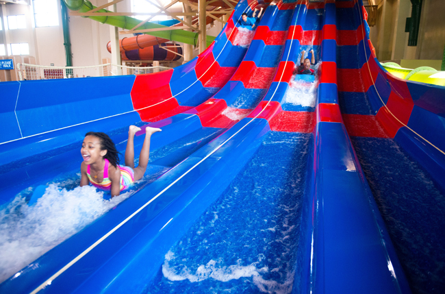 The Mountain Edge Raceway water slide at the new Great Wolf Lodge in Southern California.