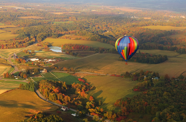 A hot air balloon ride over Letchworth State Park in New York. (Frank Del Mastro)