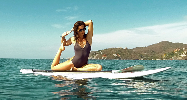 Paddle board yoga at the Viceroy Zihuatanejo in Mexico.
